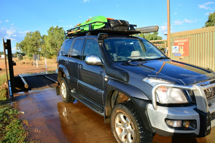 We washed some of the dirt and dust off our road warrior in Mt Surprise!