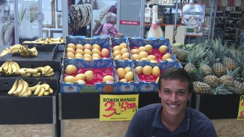 Malte - an ex-worker with the Blue Sky mangos he spotted in NSW