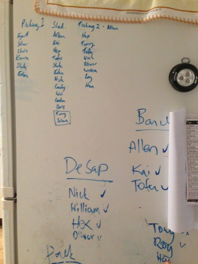 The side of our fridge became Matt' scheduling station as he worked out each night what workers were needed where.