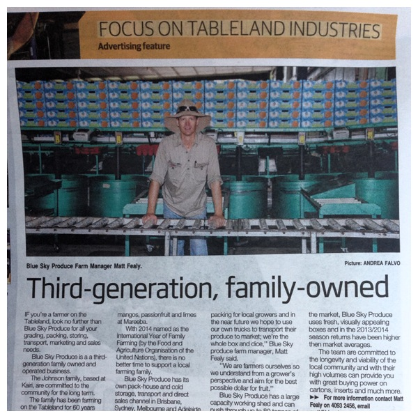 We made sure the Year of the Farming Family got a mention in our recent newspaper article showing!