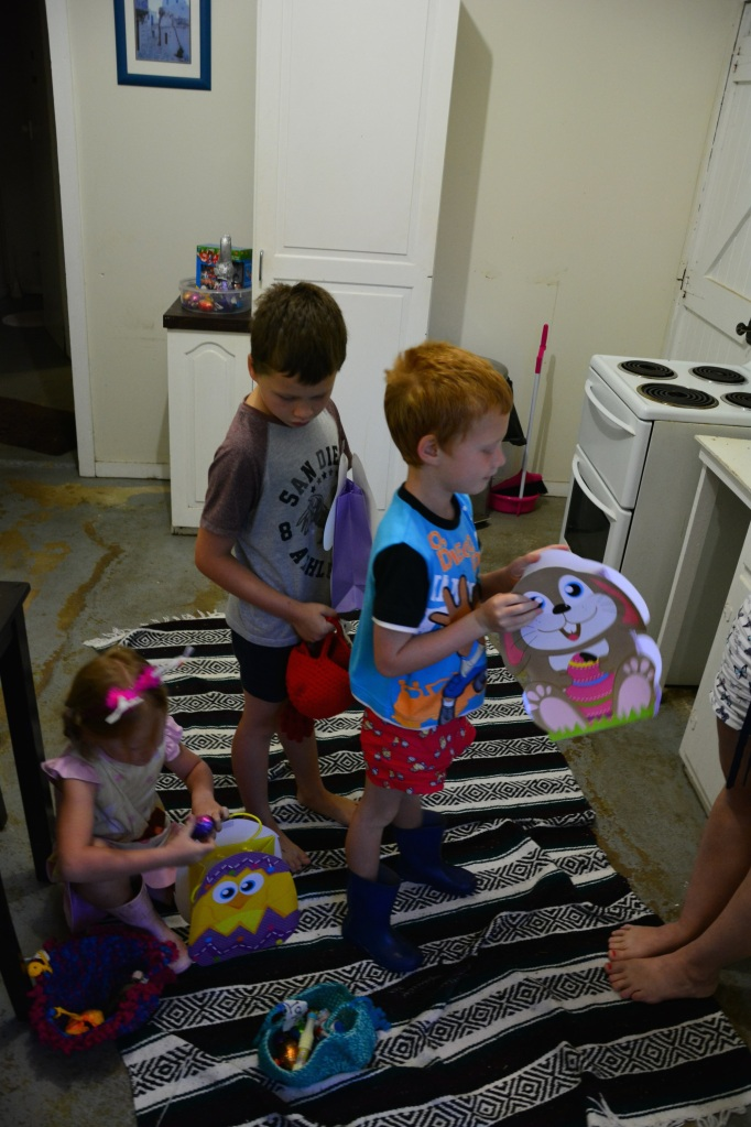Over to the cottage to enlist the help of the Tronson kids and see what the Easter Bunny had left over there!