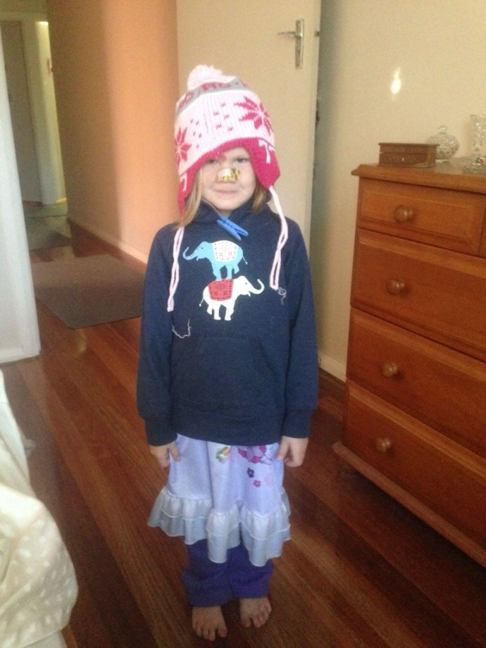 One of Lexi's morning 'outfits' - this was in the middle of summer!