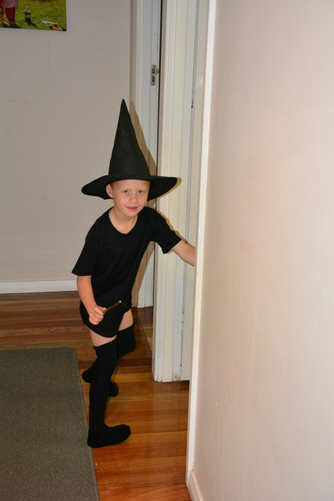 Tobes in his Harry Potter gear and hockey socks!