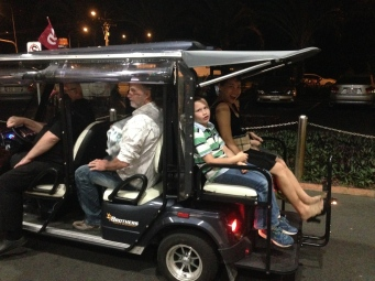The kids LOVE the golf buggy ride to the car at Brother's Leagues Club