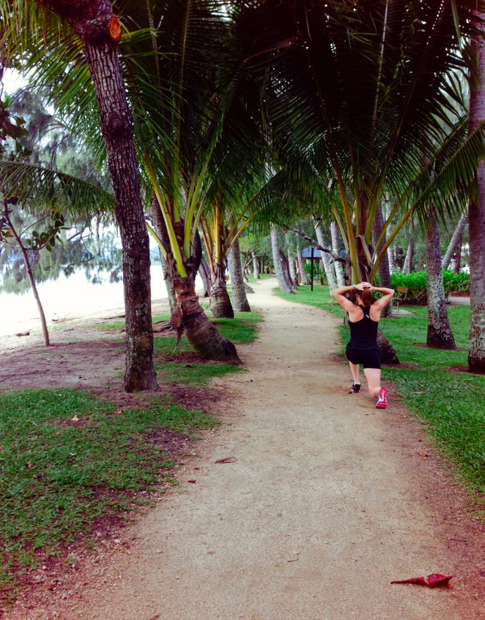 A morning walk along the esplanade - Kate putting us to shame with her fitness!